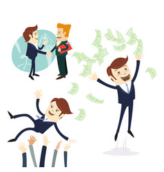 Business men handshake businessman throwing money vector