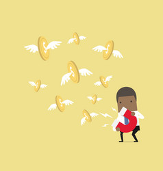 businessman attracting dollar coin with magnet vector image