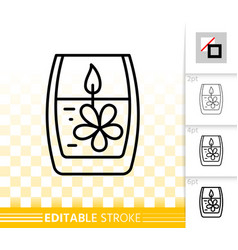candle flame black line fire light icon vector image