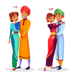 Cartoon indian couples hugging vector