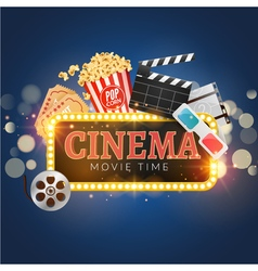 Cinema movie poster design template Popcorn vector