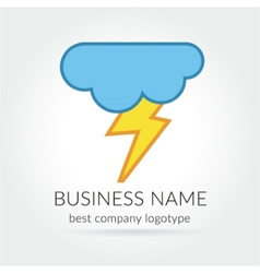 Colored lightning logo logotype with cloud for vector