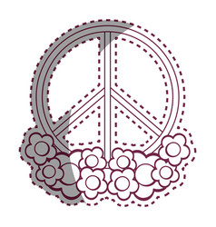 Contour symbol peace and love icon vector