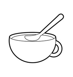 Cup of beverage with spoon refreshment aroma vector