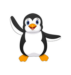 cute baby penguin cartoon waving vector image