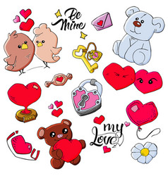 Cute icon love pattern design print backg vector