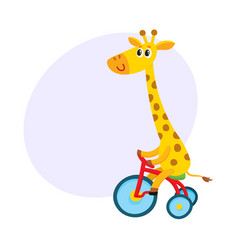 Cute little giraffe character riding bicycle vector