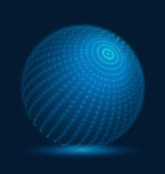 Cyber sphere blue big data sphere vector