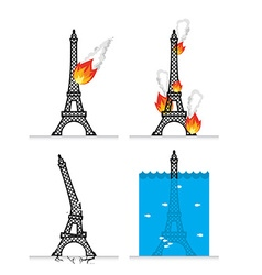 Destruction of Eiffel Tower in Paris Meteorite vector image