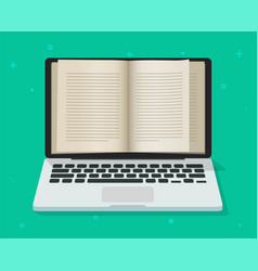 digital book online on laptop computer screen or vector image