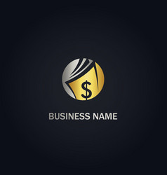 dollar money wallet gold logo vector image