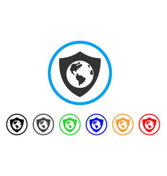earth shield rounded icon vector image