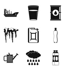 Embankment icons set simple style vector