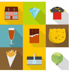 english food icons set cartoon style vector image