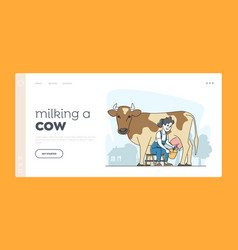Farming rancher girl working on animal farm vector