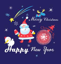 festive christmas card with santa claus on a dark vector image