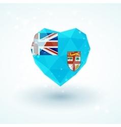 Flag of Fiji in shape diamond glass heart vector image