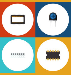 Flat icon technology set of mainframe vector