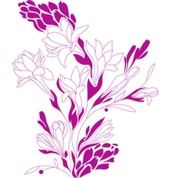Flowers contour drawing vector image