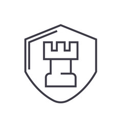 fortress castle shield line icon sign vector image