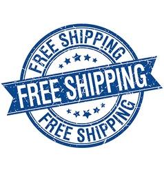 Free shipping grunge retro blue isolated ribbon vector