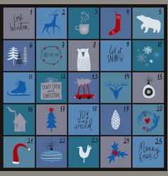 Funny christmas advent calendar vector