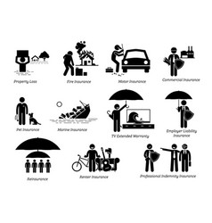 General insurance protection stick figures vector