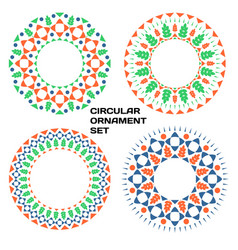 geometrical circular ornament set with floral vector image