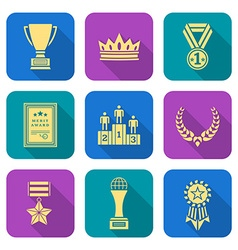 Gold flat style colored various awards symbols vector