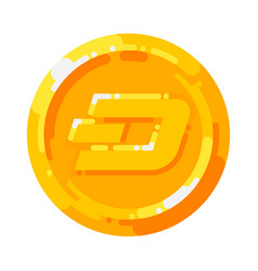 golden dash coin crypto currency blockchain symbol vector image