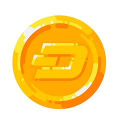 golden dash coin crypto currency blockchain symbol vector image