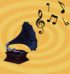 Gramophone on retro background design vector