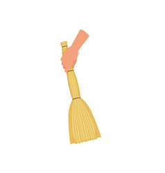 hand holding sweeping broom besom human hand vector image