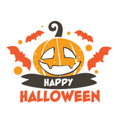 happy halloween autumn holiday celebration carved vector image