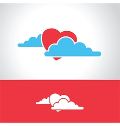 heart in clouds vector image