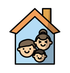 house with family fill style icon vector image