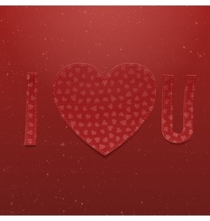 I love You realistic paper red Letters vector image