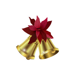 Jingle bells with poinsettia bow on a white vector