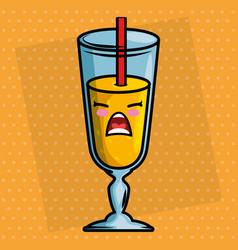 juice fruit cup kawaii character vector image