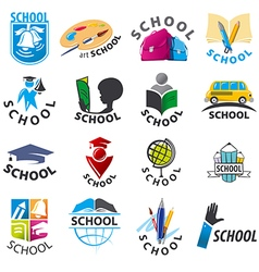 large set of logos School vector image