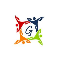 Leaf people health together letter g vector