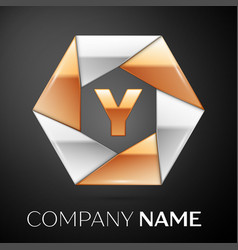 letter y logo symbol in the colorful hexagon on vector image