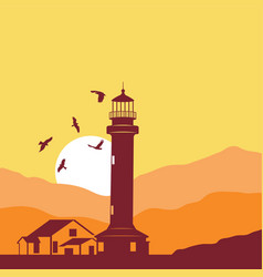 lighthouse sunset silhouettes 3 vector image