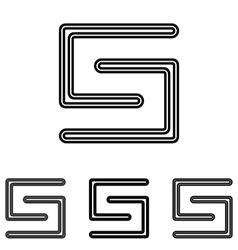Line letter s logo design set vector