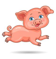 little cute pink piggy vector image