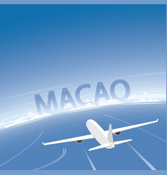 Macao skyline flight destination vector