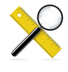 Magnifying glass and ruler on white background vector