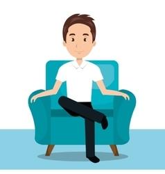 man sitting on sofa icon vector image