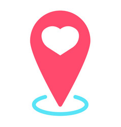 map pointer with heart flat icon valentines day vector image