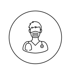 medical worker man universal icon thin vector image